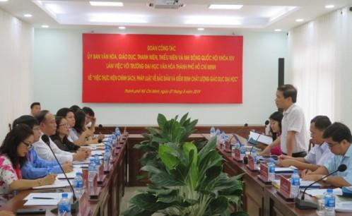 Trường Đại học Văn hóa TP. Hồ Chí Minh đón và làm việc với Đoàn Ủy ban Văn hóa, Giáo dục, Thanh niên, Thiếu niên và Nhi đồng của Quốc hội